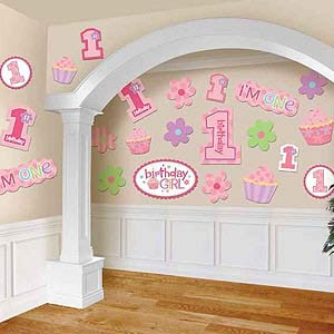 1ST BIRTHDAY PARTY CUT OUTS GIRL - PK 30