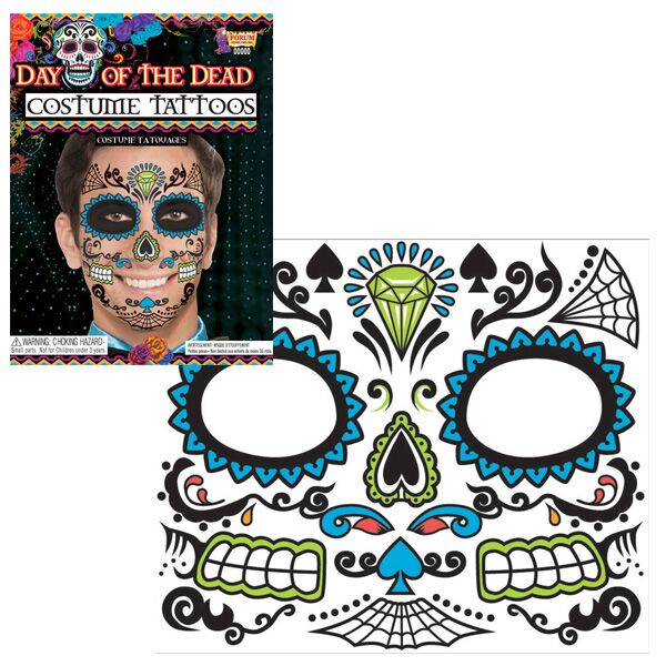 DAY OF THE DEAD FACE TATTOO BLUE