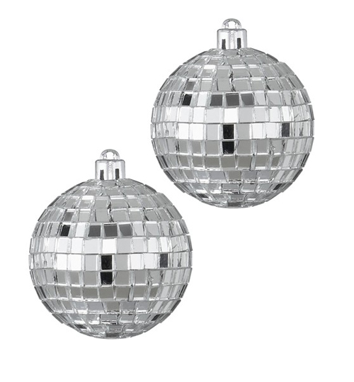 DISCO BALLS - MIRRORED 10CM PACKET OF 2