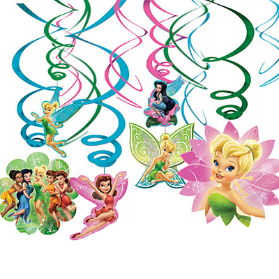 DISNEY FAIRIES SWIRL DECORATIONS PACK OF 12