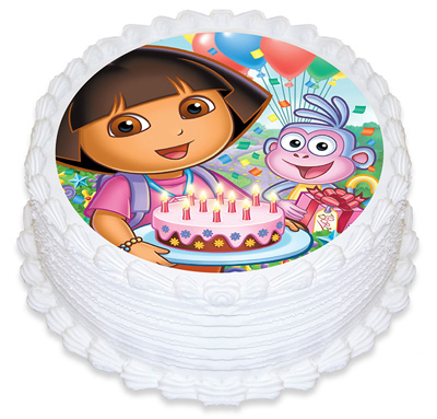 DORA THE EXPLORER ROUND EDIBLE ICING IMAGE