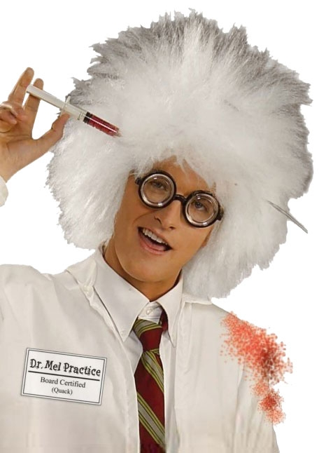 Image of Dr Mal Practice Mad Scientist Einstein Crimped White Wig