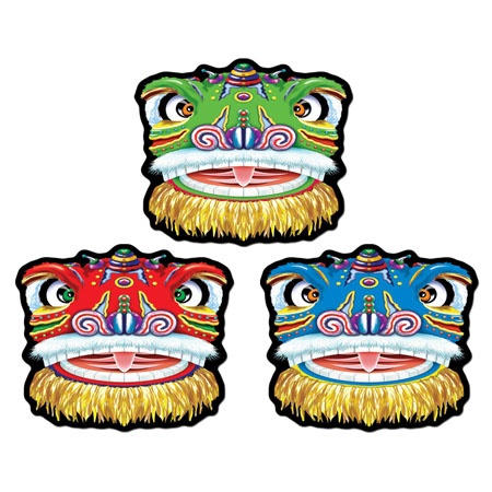 CHINESE DRAGON FACE CUTOUTS PACK OF 3