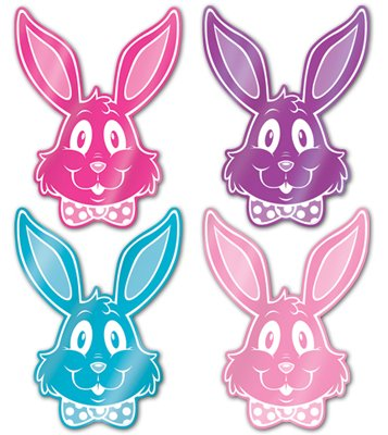 EASTER FOIL BUNNY SILHOUETTES SET OF 4