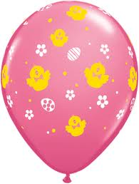 BALLOONS LATEX - EASTER PINK WITH YELLOW DUCK & WHITE FLOWER PK6