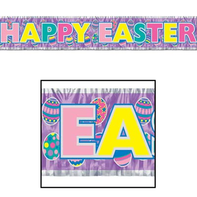 EASTER METALLIC FRINGE BANNER - EASTER EGG DESIGN