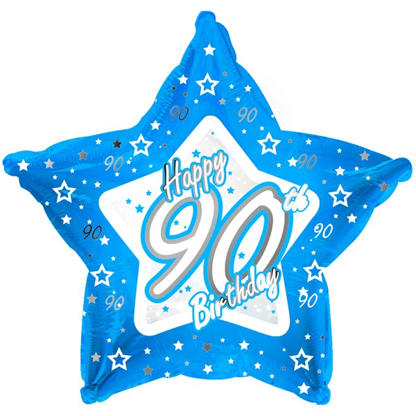 Image of Foil Balloon  90th Stars Blue