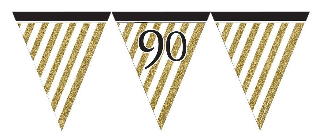 90TH BIRTHDAY PENNANT FLAG BUNTING - GOLD & BLACK