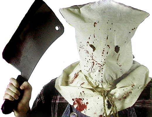EXECUTIONER HOOD WITH BLOOD STAINS