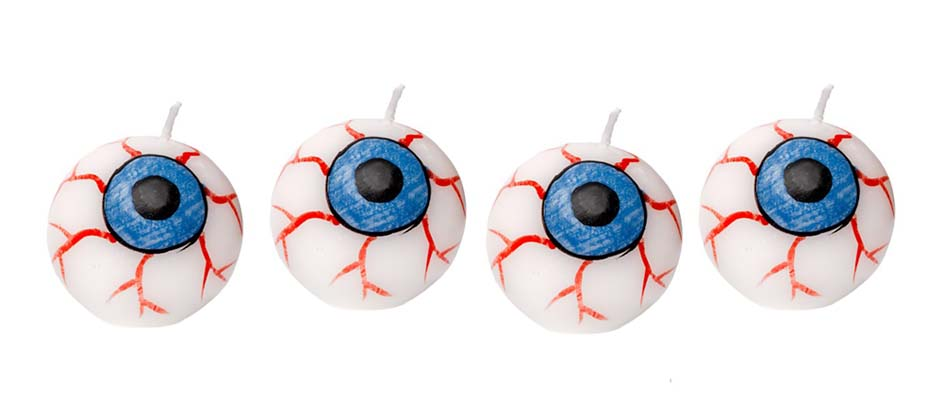 HALLOWEEN SPOOKY EYEBALL CANDLES - SET OF 4