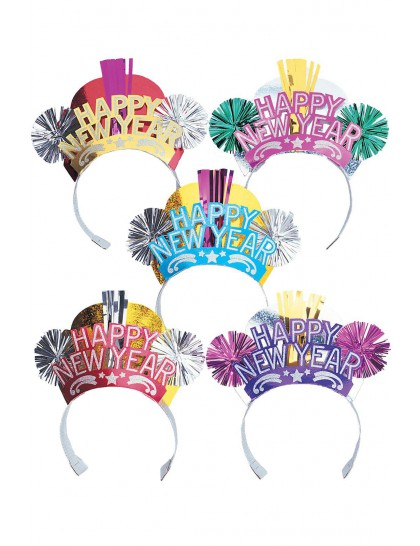 HAT - NYE FANCY FOIL & GLITTER TIARAS BULK PACK OF 50
