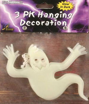GLOW IN THE DARK PK OF 3 HANGING GHOST DECORATION