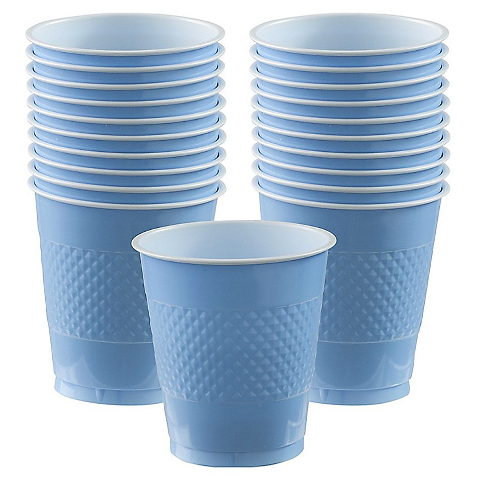 DISPOSABLE CUPS TWO TONE PASTEL BLUE - PACK OF 20