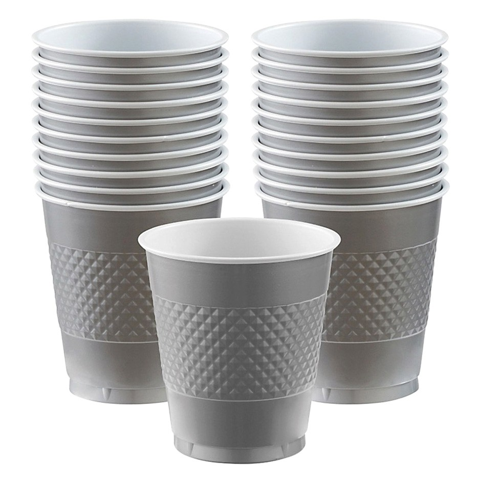 DISPOSABLE CUPS TWO TONE SILVER - PACK OF 20
