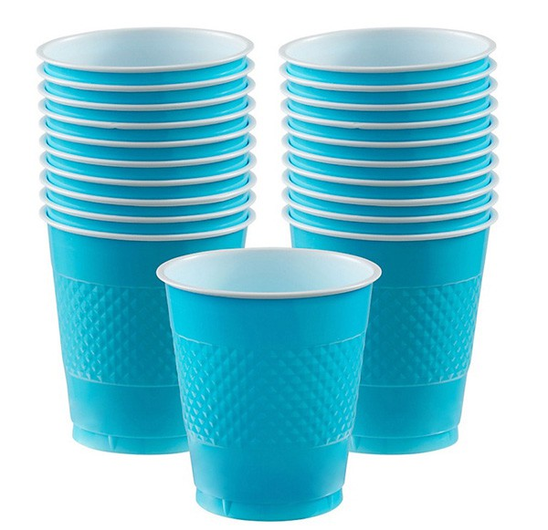 DISPOSABLE CUPS TWO TONE CARIBBEAN BLUE - PACK OF 20