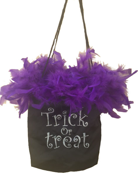GLAMOROUS TRICK OR TREAT BAG WITH GLITTER & FEATHERS