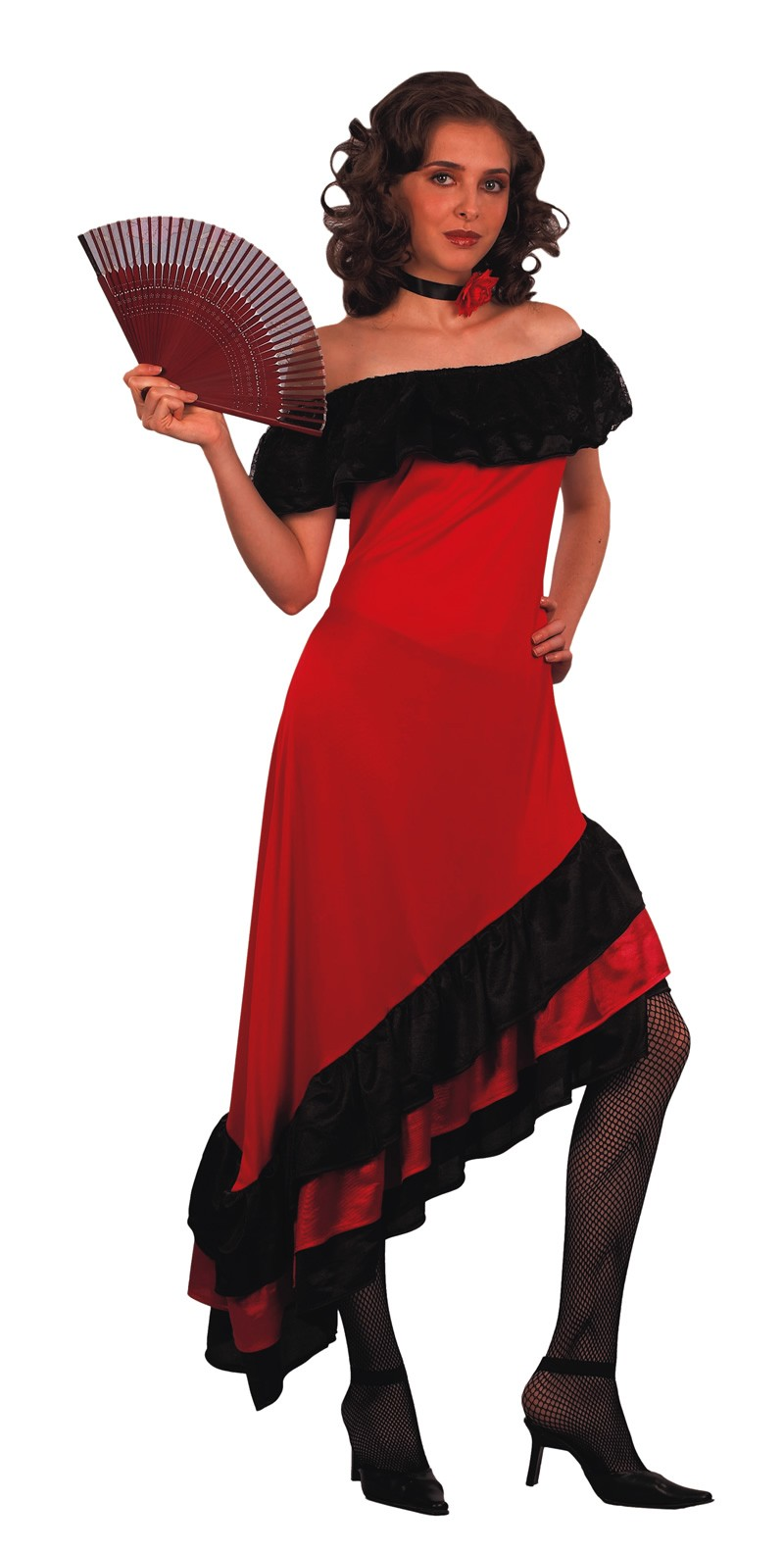 FLAMENCO LATIN DANCER RED & BLACK FRILLED DRESS
