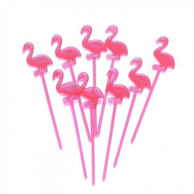 FLAMINGO PLASTIC FOOD PICKS - PACK OF 24