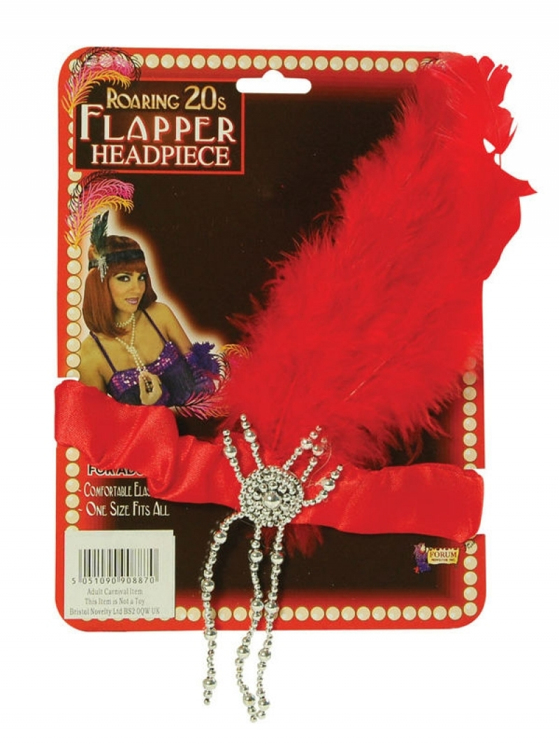FLAPPER / 1920'S FEATHER HEADDRESS - RED & SILVER