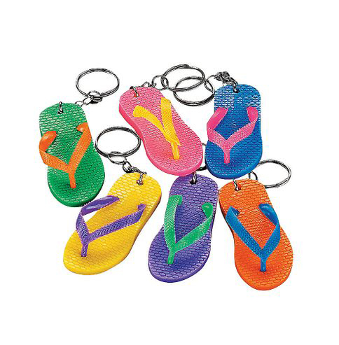 PARTY FAVOURS - FLIP FLOP KEYCHAINS - BAG OF 8