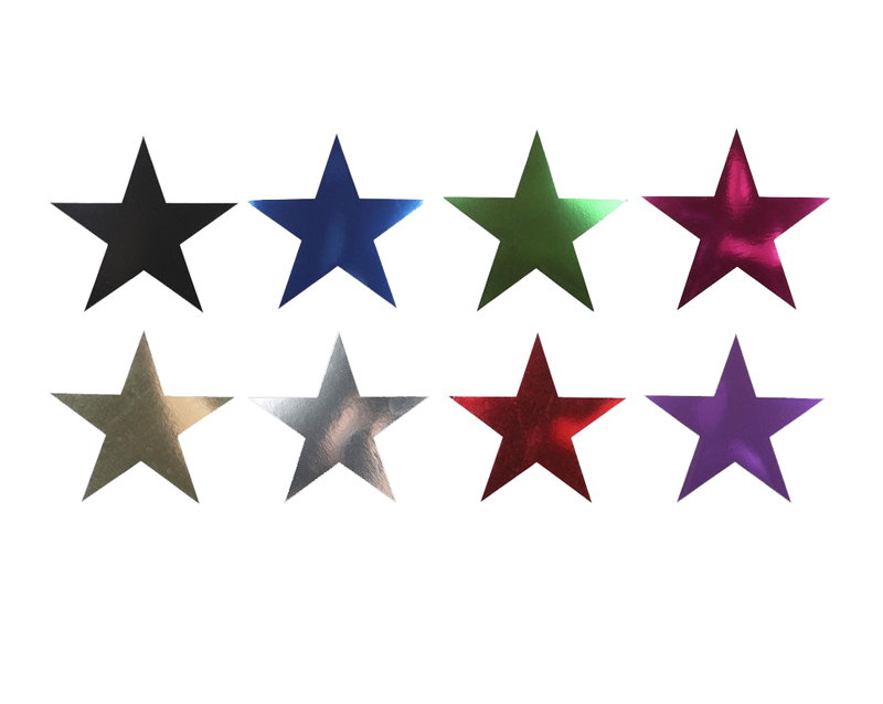 FOIL CARDBOARD CUT-OUT STARS (15cm) PACK 6