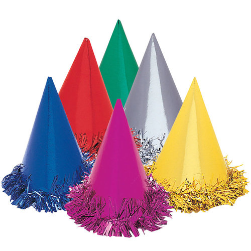 PARTY HATS FOIL WITH TINSEL TRIM - PACK 6 MULTI COLOURED