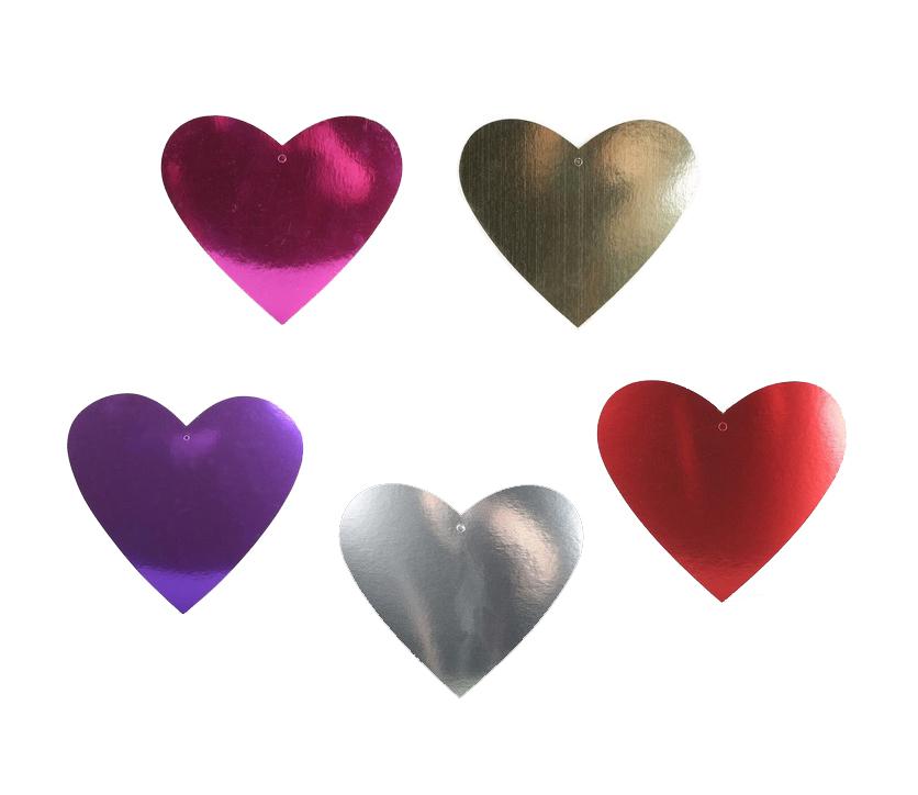 FOIL CARDBOARD CUTOUT HEARTS - SIZE 20CM PACK OF 6