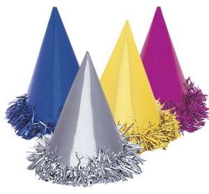 HAT - METALLIC TINSEL TRIM FOIL PARTY HATS PACK 6
