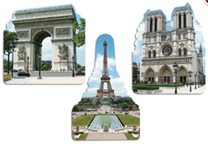 FRENCH SCENE CUTOUTS - PACK OF 3