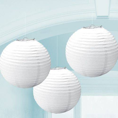 CHINESE PAPER LANTERN 24CM - FROSTY WHITE - SET OF 3