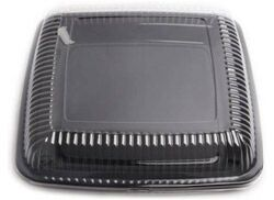 LARGE SQUARE DURABLE PLATTER - BLACK WITH LID