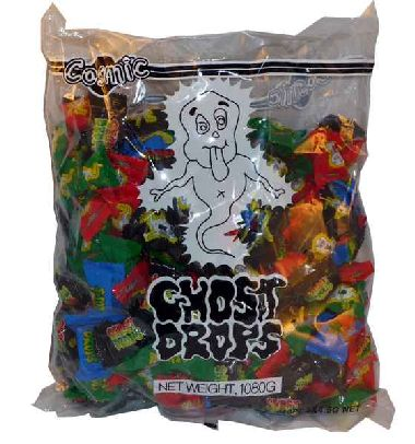 HALLOWEEN GHOST DROPS BULK 1KG BAG - 240 LOLLIES