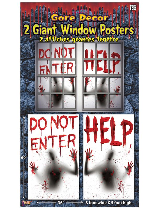 BLOODY WINDOW GIANT POSTERS - SET OF 2