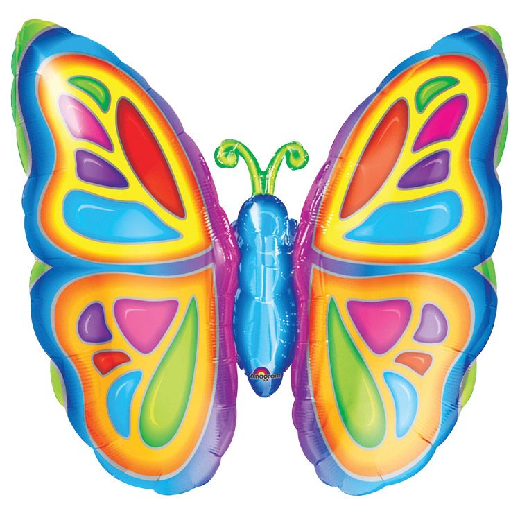 FOIL SUPER SHAPE BALLOON - MULTI COLOURED BUTTERFLY