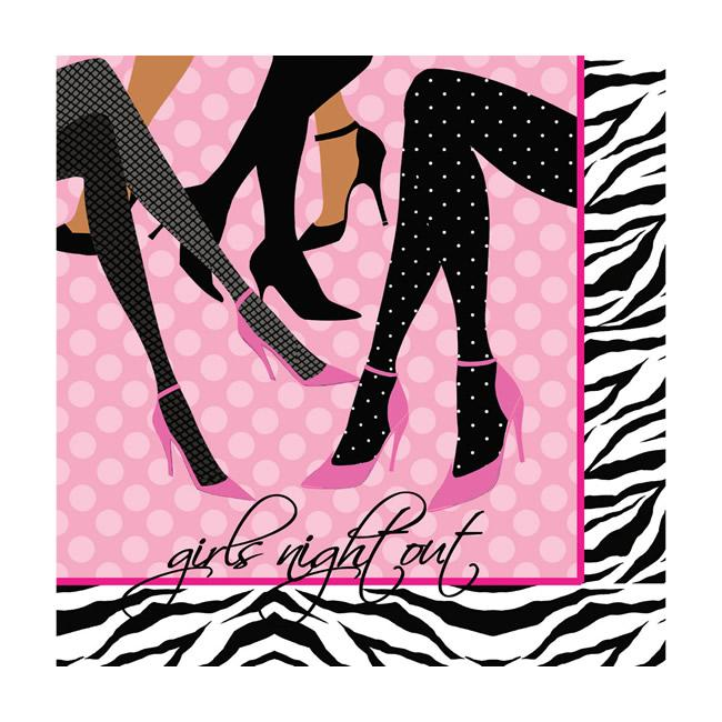 GIRLS NIGHT OUT STILLETO COCKTAIL NAPKINS - PACK OF 16