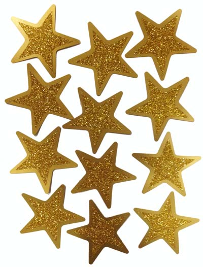 Foil Cardboard Gold Glitter Stars Pack Of 12 - Party Supplies Online