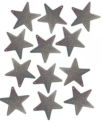 FOIL CARDBOARD CUT OUT STARS SILVER GLITTER - PACK OF 12