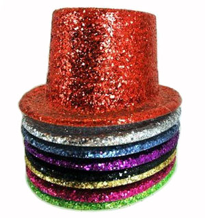 HAT - TOP HAT GLITTER - BULK MIXED COLOUR PACK OF 12