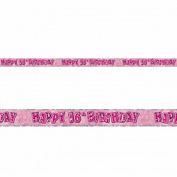 GLITZ PINK 16TH BIRTHDAY BANNER 3.6M
