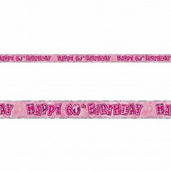 GLITZ PINK 60TH BIRTHDAY BANNER 3.6M