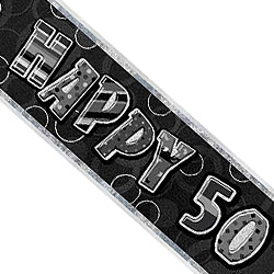 GLITZ SILVER & BLACK 50th BIRTHDAY BANNER 3.6m