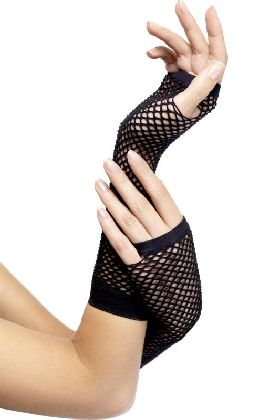 BLACK LONG FISHNET GLOVES