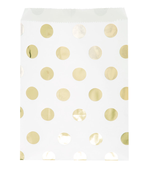 PAPER LOOT BAGS - GOLD FOIL POLKA DOT TREAT BAGS - PACK OF 8