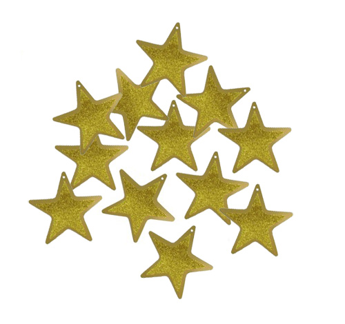 FOIL CARDBOARD CUT OUT STARS GOLD GLITTER - PACK OF 12