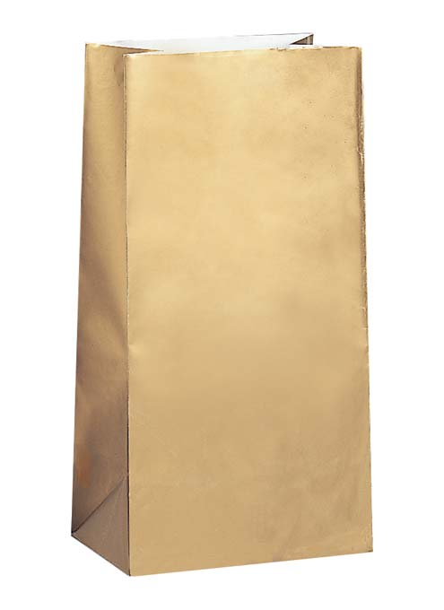 PAPER LOOT BAGS - GOLD - PACK OF 10