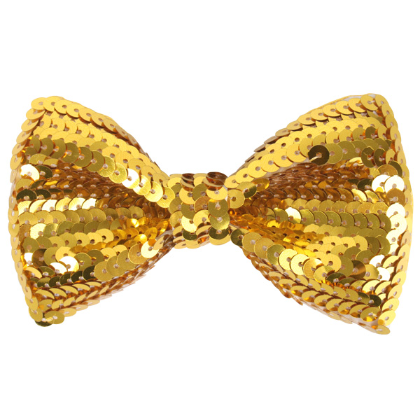 SEQUINNED BOW TIE - GOLD
