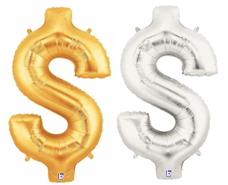 FOIL BALLOON SUPER SHAPE $ DOLLAR SIGN - GOLD OR SILVER