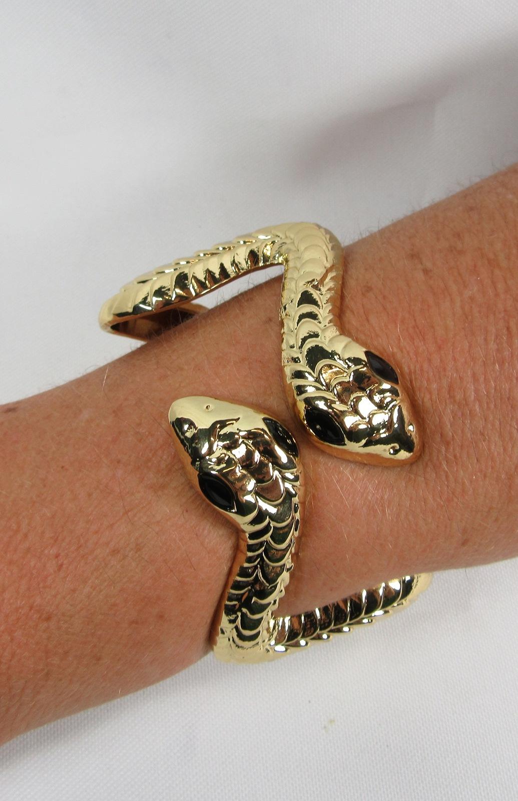 Image of Egyptian Snake Gold Metal Bracelet