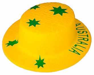 AUSTRALIAN FLAG BOATER HAT GREEN & GOLD