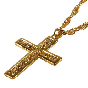 GOLD CROSS NECKLACE ON A GOLD CHAIN